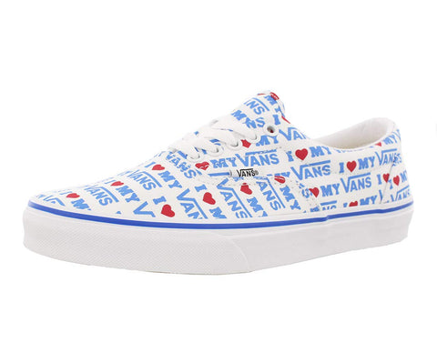 VANS Unisex Era Skate Shoes, Classic Low-Top Lace-up Style in Durable Double-Stitched Canvas and Original Waffle Outsole 6 Women/4.5 Men I Heart Vans/White