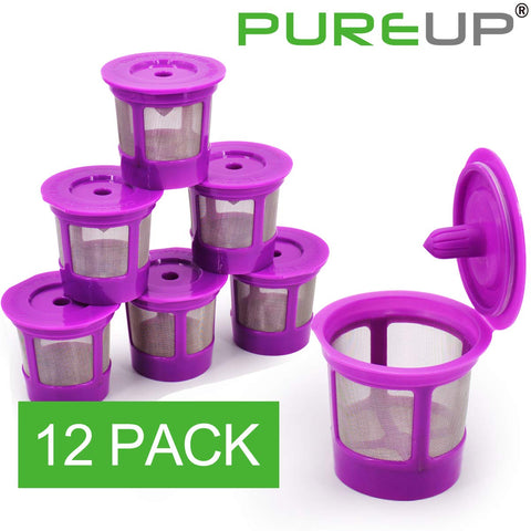 PUREUP 12 Pack Compatible with Keurig Reusable K Cups Filter Coffee Filter Replacement
