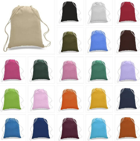 14 Pack Promotional Priced Cotton Drawstring Bags Backpacks Art Craft (Assorted) Assorted