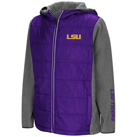 Colosseum Youth LSU Tigers Full Zip Puff Jacket Large