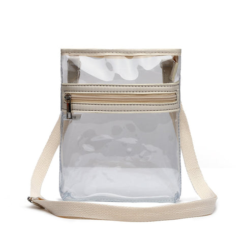 Small Clear Messenger Bag - Stadium Approved - with Front Zipped Pocket and Adjustable Shoulder Strap Ivory