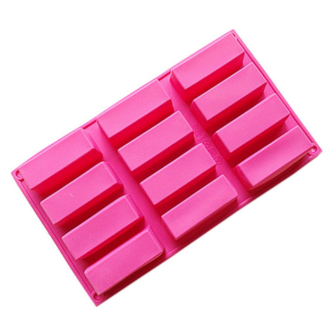 Longzang 12 Cavity Rectangle Small Loaf Silicone Mold for Handmade Soap Food Tart Pudding Cake