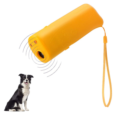 POVAD Dog Barking Stop 3 in 1 Anti Ultrasonic Dog Repeller Bark Handheld Dog Trainer Device Safe Pet Training Devices (Yellow)