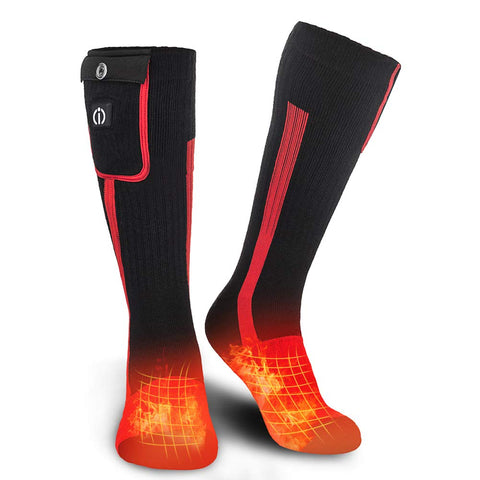SUNWILL Heated Socks for Men Women,7.4V 2200mah Electric Rechargeable Battery Warm Winter Socks,Cold Weather Thermal Heating Socks Foot Warmers for Hunting Skiing Camping Black&Red Medium
