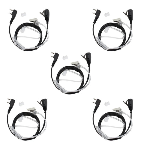 TENQ 2 Pin Two Way Radio Earpiece Acoustic Tube Headset for Kenwood HYT BAOFENG BF-UV5R 888S Retevis H-777 (5 Pack)