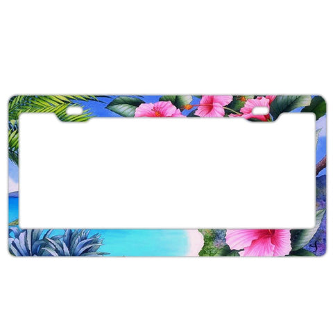 License Plate Frame for Nurse Women, Custom License Plate Frames,License Plate Holder,Cute Decorative License Plate Frame Humor Hibiscus Floral Tropical Palm