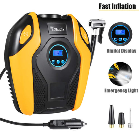 Air Compressor Tire Inflator - Natudix Car Tire Pump Digital Tire Pressure Gauges Portable Air Tool 12V 150PSI with LCD Display LED Light for Trucks Motorcycle Bike Basketball Boat (2019 Version)