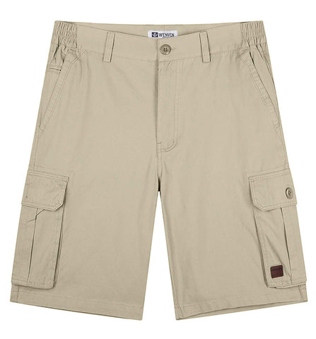 WenVen Men's Side-Elastic Waist Lightweight Outdoor Casual Cotton Cargo Shorts 36 Khaki