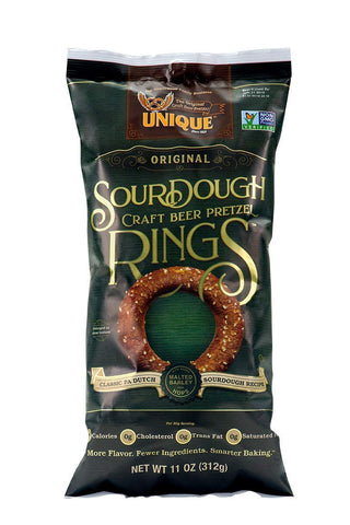 Unique Pretzels Sourdough Craft Beer Pretzel Rings, 11 Ounce Bag