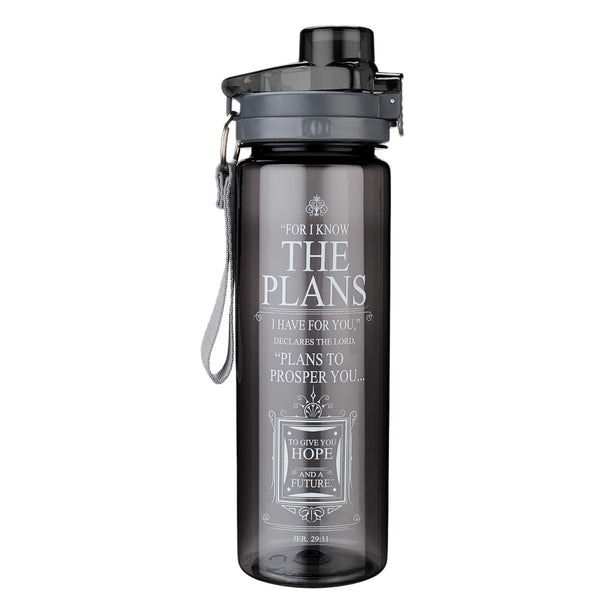 """I Know the Plans"" Black Plastic Water Bottle - Jeremiah 29:11"