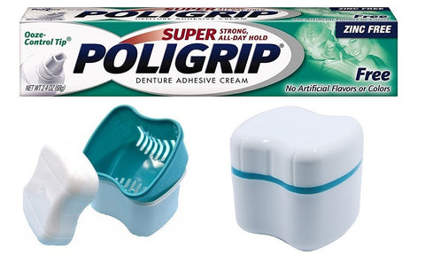 Poligrip Denture Adhesive Cream Zinc Free, 2.4-ounce Tube Bundle with Denture Cleaning Cup Case with Lid Basket