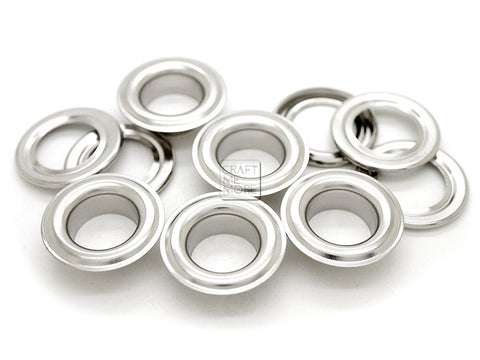 CRAFTMEmore 1 inch Hole 10 Sets Grommets Eyelets with Washers for Leather, Tarp, Canvas (Silver) Silver