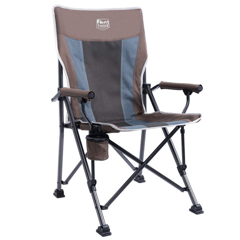 Timber Ridge Camping Chair Ergonomic High Back Support 300lbs with Carry Bag Folding Quad Chair Outdoor Heavy Duty, Padded Armrest, Cup Holder Earth