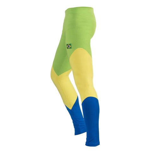 Brazil Flag Girl's Youth Leggings Pants Tights Active Sport Casual Comfort Elasticated Fit Ankle-Length 14 yrs
