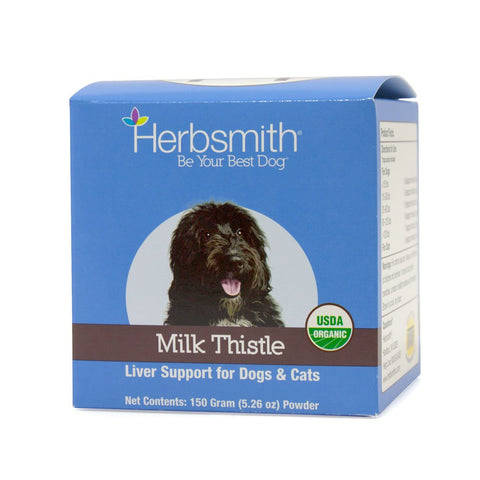 Herbsmith Organic Milk Thistle for Dogs and Cats – Liver Supplement for Dogs & Cats – Made in USA 150g Powder
