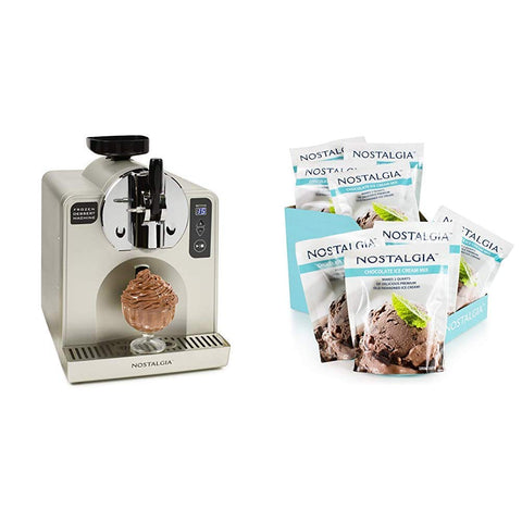 Nostalgia FDM1 Soft Serve Ice Cream & Frozen Dessert Machine, Stainless Steel with Nostalgia ICM825CHOC8PK 8 (8-Ounce) Packs Premium Chocolate Ice Cream Mix