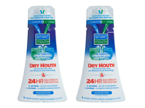 SmartMouth Dry Mouth Mouthwash, Re-hydrating Oral Rinse for Dry Mouth and Bad Breath, Mint Flavor, 16 Fluid ounces (2 Pack) No Tongue Cleaner Pack of 2
