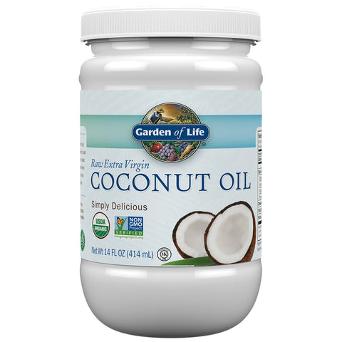 Garden of Life Organic Extra Virgin Coconut Oil - Unrefined Cold Pressed Coconut Oil for Hair, Skin and Cooking, 14 Ounce Plastic Bottle