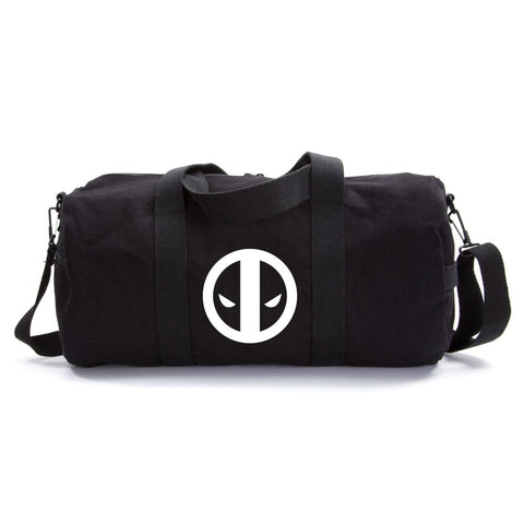 Deadpool Logo Sport Heavyweight Canvas Duffel Bag in Black & White, Large Large (24  x 12  x 12 )
