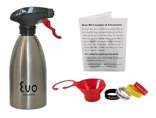 Stainless Steel Oil Sprayer For Cooking, Evo 16 Ounce Reusable Refillable For The Kitchen BBQ With Funnel, Identification Bands And Informational Card.