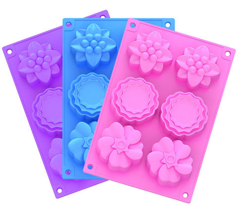 Ouddy 3 Pack 6 Cavity Flower Shape Silicone Soap Making Mold Handmade Chocolate Cake Baking Molds DIY Soap Mold with 2 S Hooks 3 Pack (Pink+Purple+Blue)