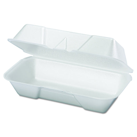 Genpak 21600 8-7/16-Inch Length by 4-3/16-Inch Width by 3-1/16-Inch Depth White Color Medium Hogie Foam Hinged Snack Container 125-Pack (Case of 4)