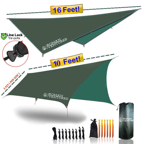 13 Foot Rain Fly for Hammock –Light Weight, Diamond-Ripstop Polyester, Hammock Rainfly- 2000 PU Backpacking Tarp, Waterproof Eno Rain Cover– Rainfly Tent Tarp 10 Foot Butterfly (Forest Green)