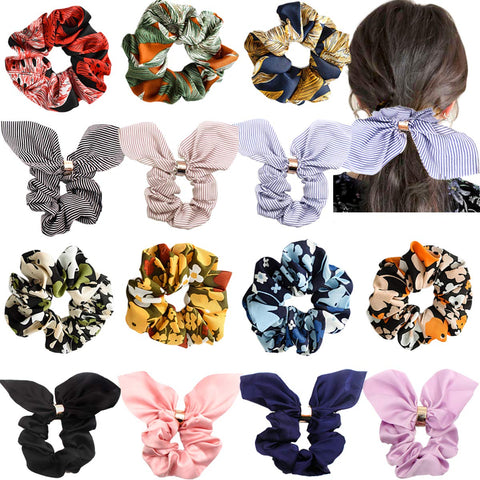 Chiffon Flower and Big Bow Hair Scrunchies Silky Elastic Hair Bands Hair Ponytail Holder Scrunchy Ties Vintage Accessories for Women Girls-Light Weight (Chiffon Flower) Chiffon Flower