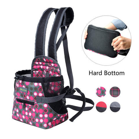 Wellver Dog Carriers Front Pack Pet Backpack Carrier for Small Dogs Cats with Hard Bottom M Polkadot