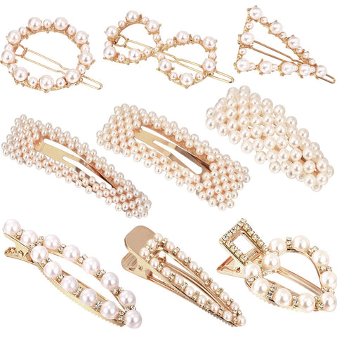 9 Pieces Artificial Pearl Hair Pins Hair Barrettes Decorative Bridal Hair Clips Handmade Hair Accessories for Women (Style Set 1) Style Set 1
