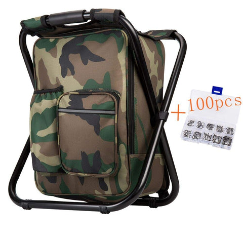 Upgraded Large Size 3 in1 Multifunction Fishing Backpack Chair, Portable Hiking Camouflage Camping Stool, Folding Cooler Insulated Picnic Bag Backpack Stool Camouflage2