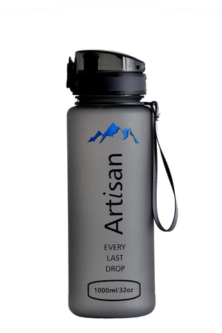 Artisan Sport Water Bottle, Water Bottle with Time Marker, 32oz Insulated Water Bottle, 32oz Water Bottle, Sports Water Bottle, bpa-Free Water Bottle, Fitness Outdoor, Color Grey.