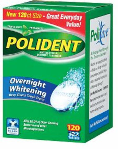 Polident Overnight Whitening, Antibacterial Denture Cleanser, Triple Mint Freshness 120 ea (Pack of 2) Pack of 2