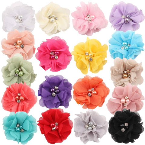 "18 Pcs 2"" Girls Alligator Hair Clips Chiffon Flower with Rhinestone Pearl Hair Barrettes Hair Accessories for Girls Teens Women"