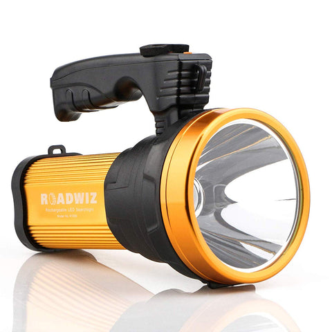 Super Bright LED Searchlight Rechargeable Waterproof Handheld Spotlight Power Bank 6000 Lumen 9000 mAh 3 Modes Aluminium Frame Illumination 2600ft (800 meters)
