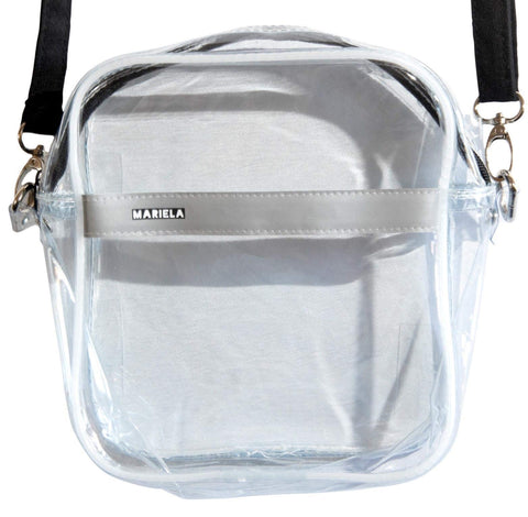 Mariela Small Clear Crossbody Shoulder Messenger Bag for Women//Stadium Approved//Transparent PVC Purse for Football Games and Concerts//NFL PGA NCAA/6.7 x 7.5 x 2.75