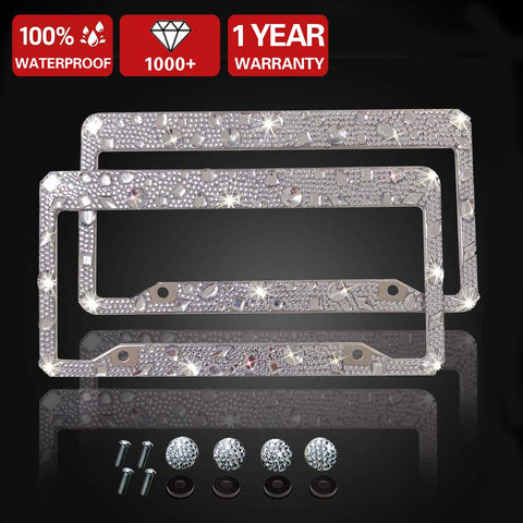 Luxury Handcrafted Bling Black Rhinestone Premium Stainless Steel License Plate Frame with Gift Box | 1000+ pcs Finest 14 Facets SS20 Black Rhinestone Crystal | Anti-Theft Screw Cap -Big Crystal Multi White Crystal