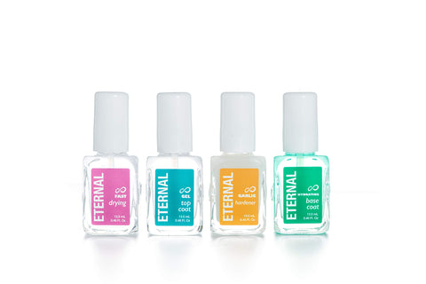 Eternal Nail Treatment Set - Perfect Nails Collection: Hardener, Gel Top Coat, Hydrating Base Coat & Fast Drying Polish - 0.46 OZ 4 Pack - 0.46 FL. OZ.