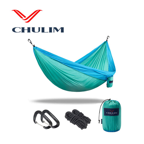CHULIM Double Camping Hammock with Tree Hanging Kit and 12kn Aluminum Wiregate Carabiner. 118  L x 78  W,Lightweight Portable Camping Gear.Parachute Nylon Hammock for Hiking,Backpacking. Ocean/Aqua Green with ropes kit
