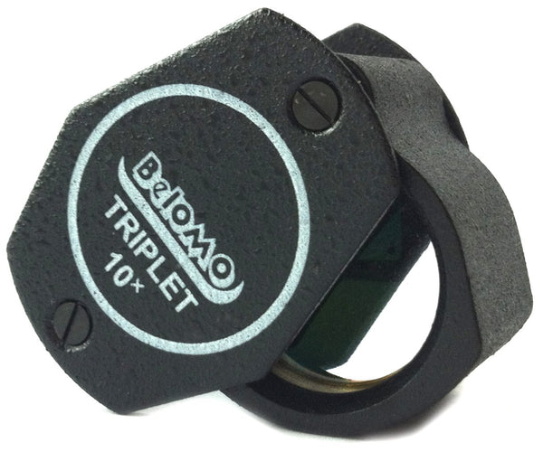 BelOMO 10x Triplet Loupe Folding Magnifier 21mm (.85 ) Optical Glass with Anti-Reflection Coating for a Bright, Clear and Color Correct View