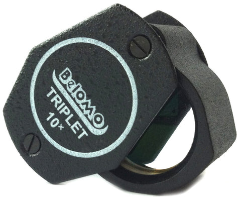 "BelOMO 10x Triplet Loupe Folding Magnifier 21mm (.85"") Optical Glass with Anti-Reflection Coating for a Bright, Clear and Color Correct View"