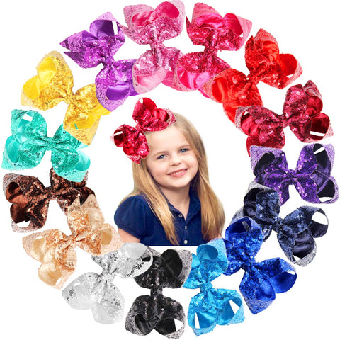 15Pcs 6 Inches Big Bows for Baby Girls Bling Sparkly Sequins Bow Clips Boutique Hair Bows For Girls Kids Children Women Ribbon Bowknot Alligator Hair Clips A-Glitter Bows