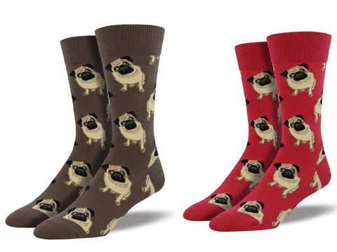 SockSmith Pugs MNC609, Terracotta Red and Brown, Combo 2 Pack (dress socks)