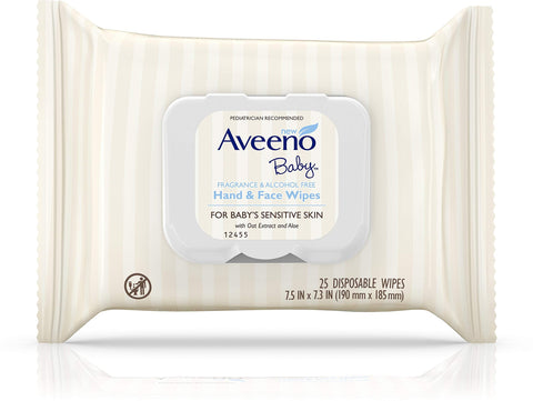 AVEENO Hand & Face Baby Wipes with Oat Extract 25 ea