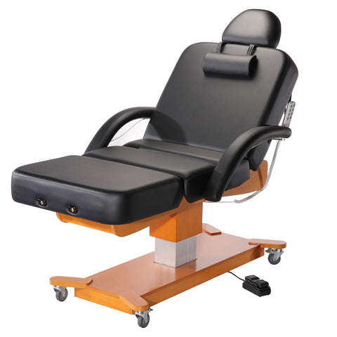 Mt 30  MaxKing Salon Electric Massage Table Package Electric Lift Table with 3.5  Cloudysoft Sponge System Black
