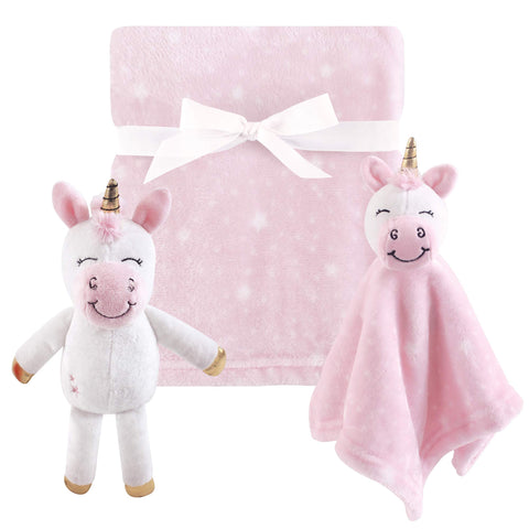 Hudson Baby 3 Piece Plush Toy Blanket Set, Pink Unicorn, One Size