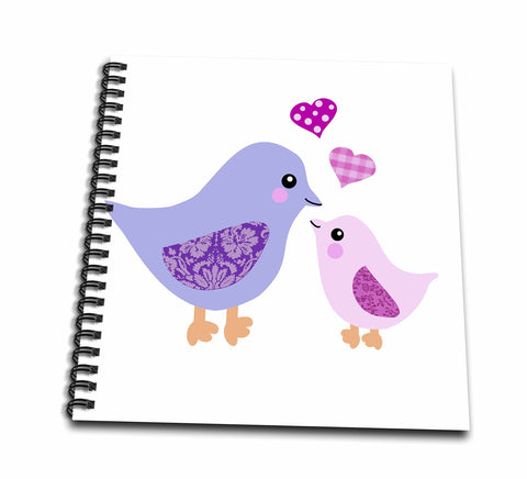 3dRose db_120280_2 Cute Purple Mom Bird and Pink Baby Chick Daughter Girl Kawaii Mother and Child Birds Mothers Day Memory Book, 12 by 12-Inch