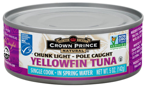 Crown Prince Natural Chunk Light Yellowfin Tuna in Spring Water, 5-Ounce Cans (Pack of 12) Yellowfin in Spring Water