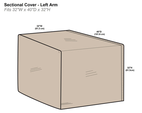 Protective Covers Inc. Modular Sectional Sofa Cover, Left Arm Piece, 32 W x 40 D x 32 H, Tan - 1256-TN