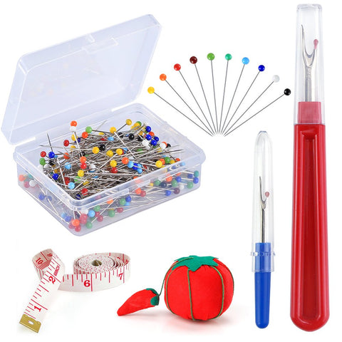 Pllieay 250 Pieces Sewing Pins 38mm Multicolor Glass Ball Head Pins Straight Quilting Pins Including Sewing Seam Ripper and Soft Tape Measure for Dressmaking Jewelry Components Flower Decoration